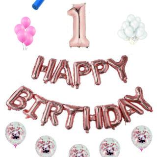Pachete Happy Birthday roz gold cifre 100 cm