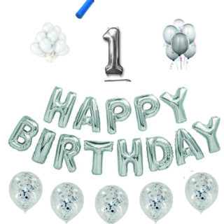 Pachete Happy Birthday argintii cifre 100cm