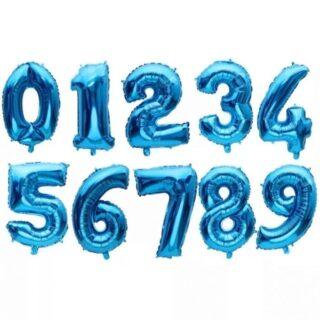 Baloane cifre folie 40 cm albastru