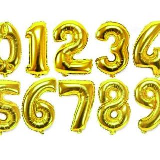Baloane cifre folie 40 cm auriu