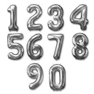 Baloane cifre folie 40 cm argintiu