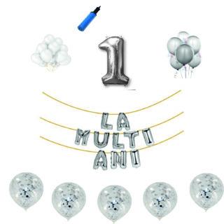 Pachete La Multi Ani Argintii cifre 45 cm