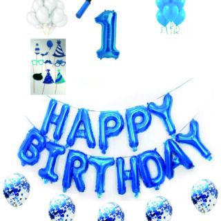 Pachete Happy Birthday albastre cu propsuri