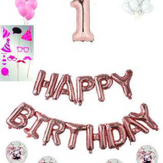 Pachete Happy Birthday roz gold cu propsuri